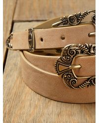 Free People | Natural Celtic Double Buckle Waist Belt | Lyst