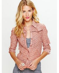 Free People | Red Western Printed Buttondown Shirt | Lyst