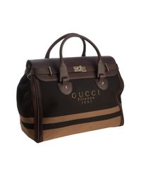 Gucci | Brown Logo Twill Weekend Travel Tote for Men | Lyst