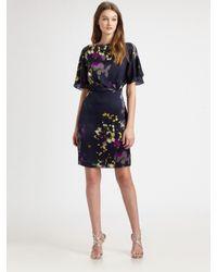 Kay Unger   Blue Printed Silk Dress   Lyst