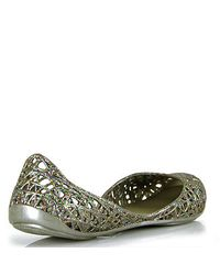 Melissa - Metallic Campana - Silver Mutli-colored Glitter Jelly Cutout Flat - Lyst