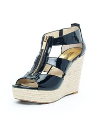 Michael Kors | Damita Wedge, Black Patent Leather | Lyst