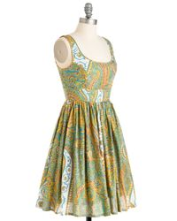 ModCloth | Green Plays Well With Others Dress In Paisley | Lyst