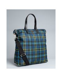 Prada | Blue Plaid Nylon Travel Tote for Men | Lyst