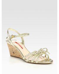 Prada | Braided Metallic Leather Cork Wedge Sandals | Lyst