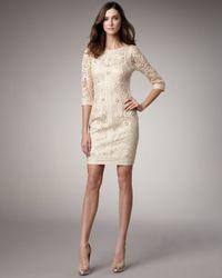 Sue Wong - Natural Lace Floral-Applique Dress - Lyst