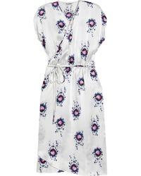 Tucker | White Printed Silk-charmeuse Wrap Dress | Lyst