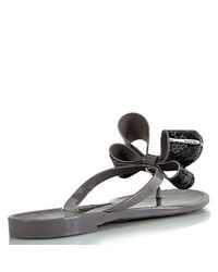 Valentino | Gray Couture Jelly - Grey Rubber Lace Thong Sandal with Bow | Lyst