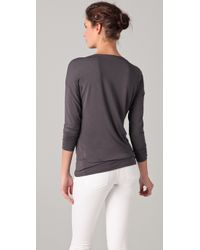 Vince - Gray Long Sleeve Boat Neck Tee - Lyst