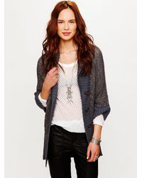 Free People | Gray Shawl Collar Cardigan | Lyst