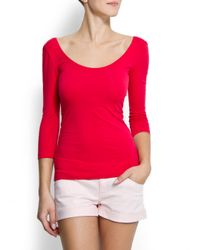 Mango | Pink Slim-fit Scoop Neck T-shirt | Lyst