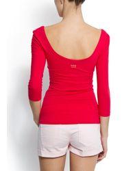 Mango | Pink Slim-fit Scoop Neck T-shirt | Lyst