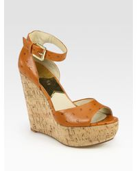 MICHAEL Michael Kors | Brown Ariana Ostrich-Print Leather Cork Wedge Sandals | Lyst