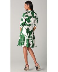 MILLY | Green Belted Thistle Print Karolina Dress | Lyst
