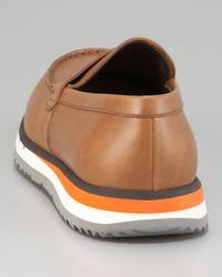 Prada | Brown Penny Loafer On Sneaker Bottom for Men | Lyst