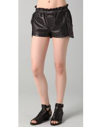 Rebecca Minkoff | Black Leather Shorts Mika | Lyst