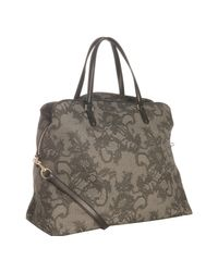 Valentino | Gray Black Lace Print Coated Canvas Convertible Shoulder Bag | Lyst