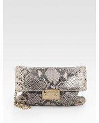 MICHAEL Michael Kors | Multicolor Sloan Python-embossed Leather Convertible Clutch | Lyst