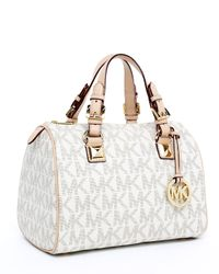Michael Kors | Grayson Signature Pvc Medium Satchel, Vanilla | Lyst