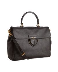 Prada | Black Saffiano Leather Convertible Tote | Lyst