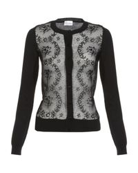 RED Valentino | Black Sheer Flower Front Cardigan | Lyst