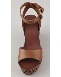 Ash | Brown Vanina Wedge Sandals | Lyst