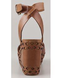 Ash | Brown Vanina Wedge Sandals | Lyst