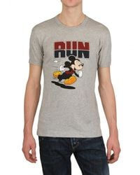 Dolce & Gabbana - Gray Mickey Mouse Run Cotton Jersey T-shirt for Men - Lyst