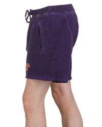 DSquared² - Purple Cracked Print Cotton Fleece Sweat Shorts for Men - Lyst