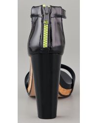 See By Chloé - Black Zip Back Cork Platform Sandals - Lyst