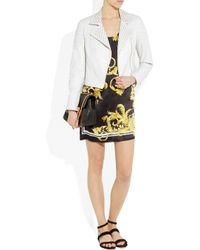 Versace | White Eyelet-Detailed Quilted Leather Biker Jacket | Lyst