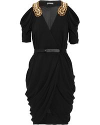 Alexander McQueen | Black Embellished Draped Jersey Dress | Lyst
