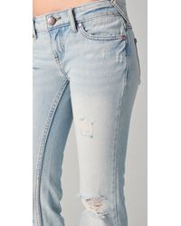 Free People - Blue Destroyed Relaxed Flare Jeans - Lyst