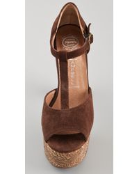 Jeffrey Campbell | Brown Babe T Strap Cork Platform Sandals | Lyst