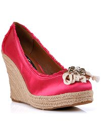 Juicy Couture | Pink Satin Espadrille Wedge | Lyst