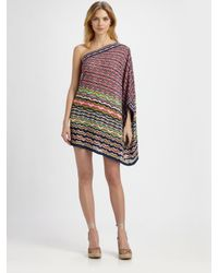 M Missoni | Pink One-shoulder Mini Dress | Lyst