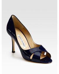 Manolo Blahnik | Blue Patent Leather Peep Toe Pumps | Lyst