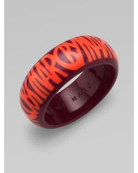 Marc By Marc Jacobs - Red Logo Printed Resin Bangle Bracelet - Lyst