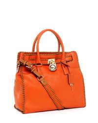 Michael Kors | Hamilton Large Whipped North South Tote, Burnt Orange | Lyst