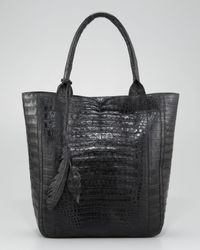 Nancy Gonzalez | Black Crocodile Leaf Tote | Lyst