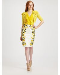 Oscar de la Renta   Natural Cotton Flower Skirt   Lyst