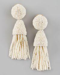 Oscar de la Renta | White Beaded Short Tassel Earrings | Lyst