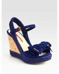 Prada | Blue Suede Espadrille Slingback Wedge Sandals with Bow | Lyst