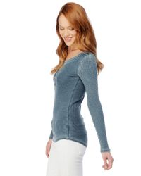 Splendid | Blue Distressed Thermal Henley | Lyst