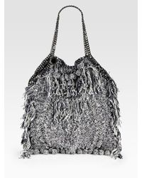 Stella McCartney | Gray Fringed Crochet Bag | Lyst
