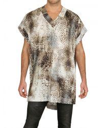 Tom Rebl | Multicolor Cotton Satin Leopard Print Tunic Shirt for Men | Lyst