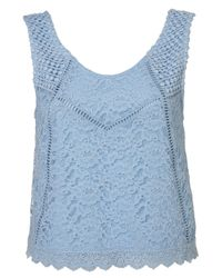 TOPSHOP | Blue Lace Mix Sleeveless Shell | Lyst