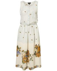 TOPSHOP - Natural Border Flower Button Midi Dress - Lyst