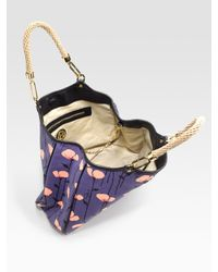 Tory Burch - Purple Channing Floral-print Canvas & Leather Tote - Lyst