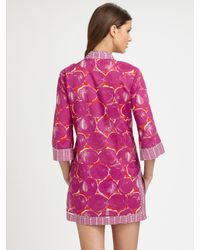 Tory Burch - Pink Printed Cotton Tunic - Lyst